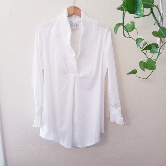 Soft Surroundings Tops Nwot White Pintuck Blouse Tunic Poshmark